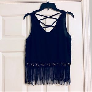 Sleeveless Black Fringe Crop Top Size M